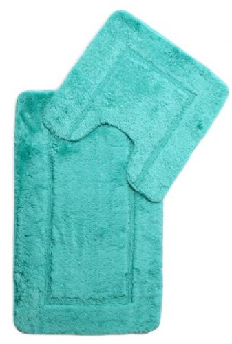 DESIGNER LUXURY SOFT MICROFIBRE BATH MAT & PEDESTAL TEAL COLOUR